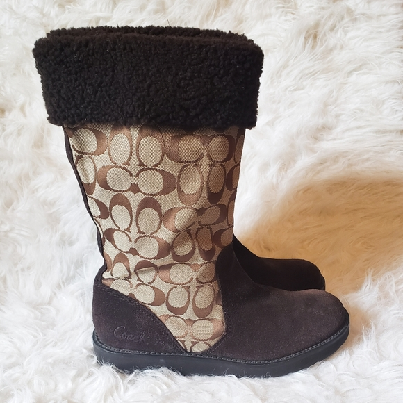 Coach Kelly Signature Boots Brown Suede Logo